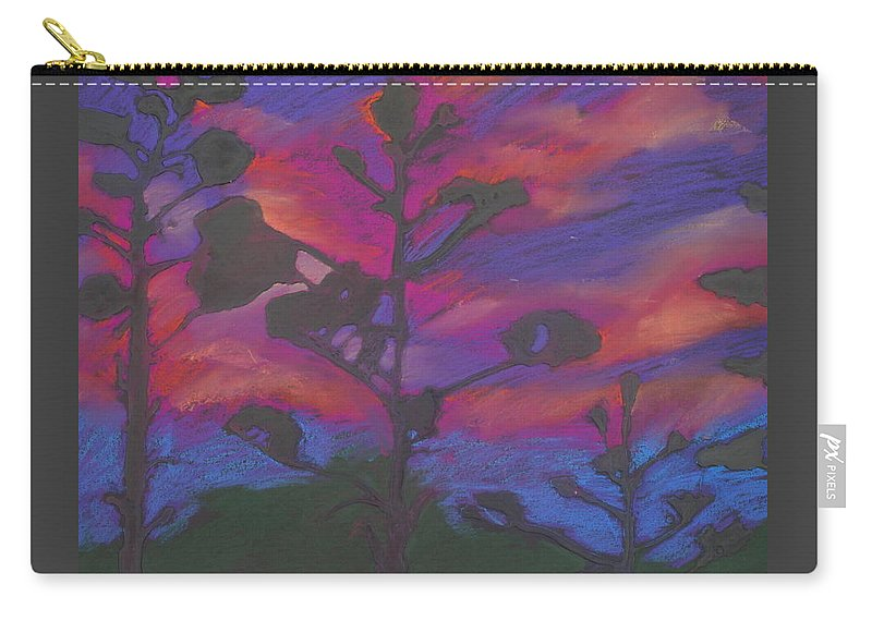 Contemporary Tree Landscape Carry-all Pouch featuring the mixed media San Diego Sunset by Leah Tomaino