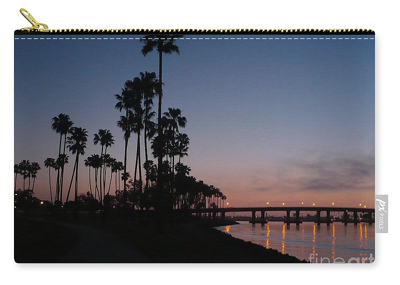 Sunset Carry-all Pouch featuring the photograph San Diego Sunset With Palm Trees by Carol Groenen