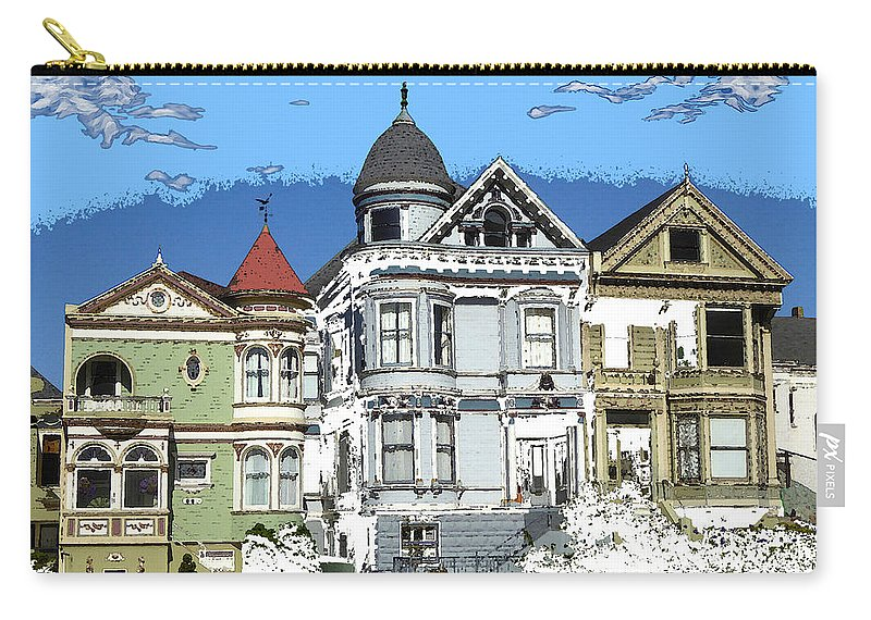 Sanfrancisco Carry-all Pouch featuring the painting San Francisco Alamo Square - Modern Art by Peter Potter
