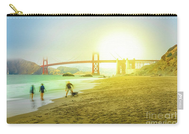 Golden Gate Bridge Carry-all Pouch featuring the photograph San Francisco Baker Beach by Benny Marty