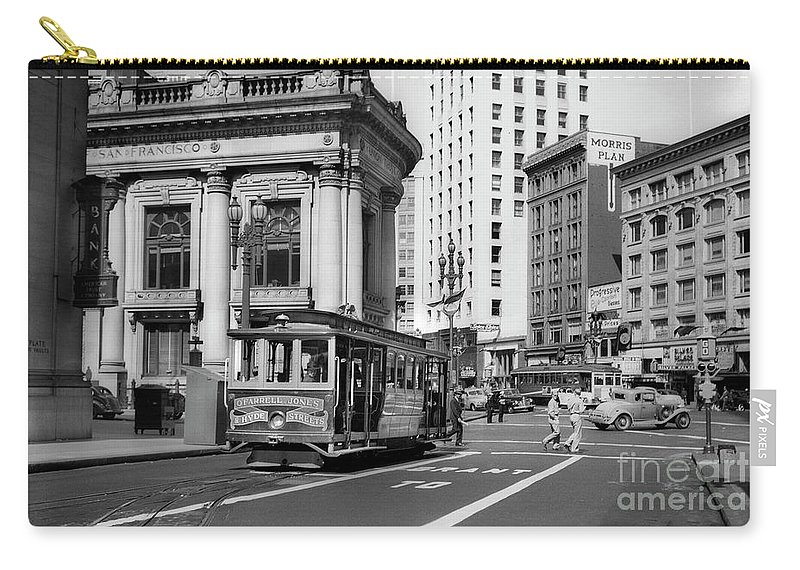 O'farrell At Market Street Carry-all Pouch featuring the photograph San Francisco Cable Car During Wwii by Wernher Krutein