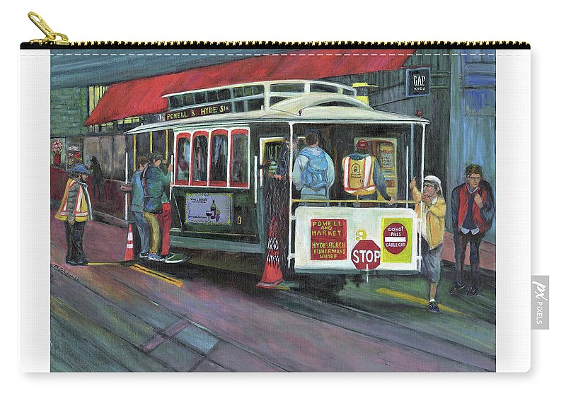 Cable Car In San Francisco Carry-all Pouch featuring the painting San Francisco Cable Car by Marcelle Schvimmer