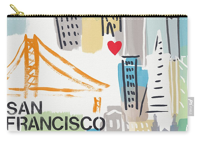 San Francisco Carry-all Pouch featuring the painting San Francisco Cityscape- Art By Linda Woods by Linda Woods