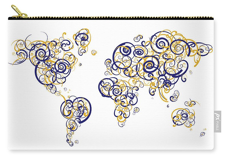 Globe Carry-all Pouch featuring the digital art San Francisco State University Colors Swirl Map Of The World Atl by Jurq Studio