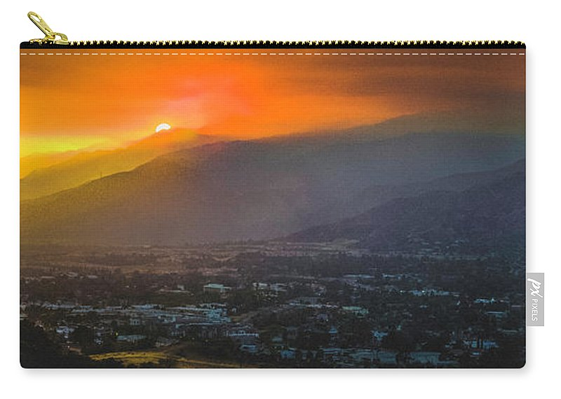 Sunset Carry-all Pouch featuring the photograph San Gabriel Complex Fire by Christian Flores