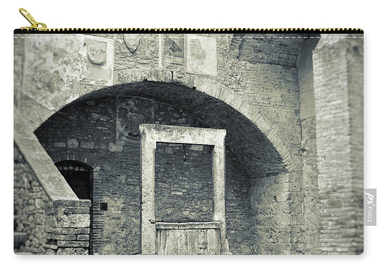 Ancient Carry-all Pouch featuring the photograph San Gimignano - Medieval Well by Silvia Ganora