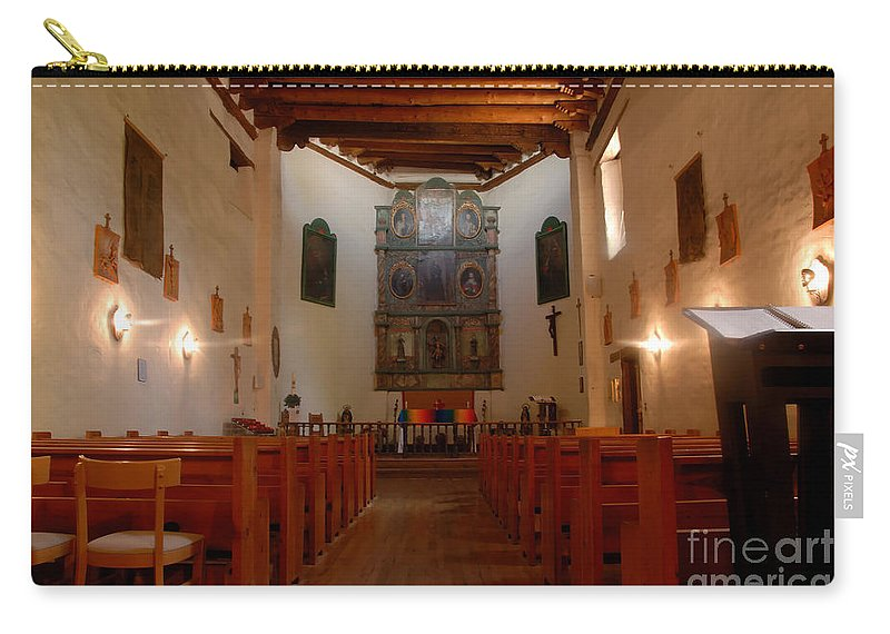 San Miguel Mission Carry-all Pouch featuring the photograph San Miguel Mission Church by David Lee Thompson