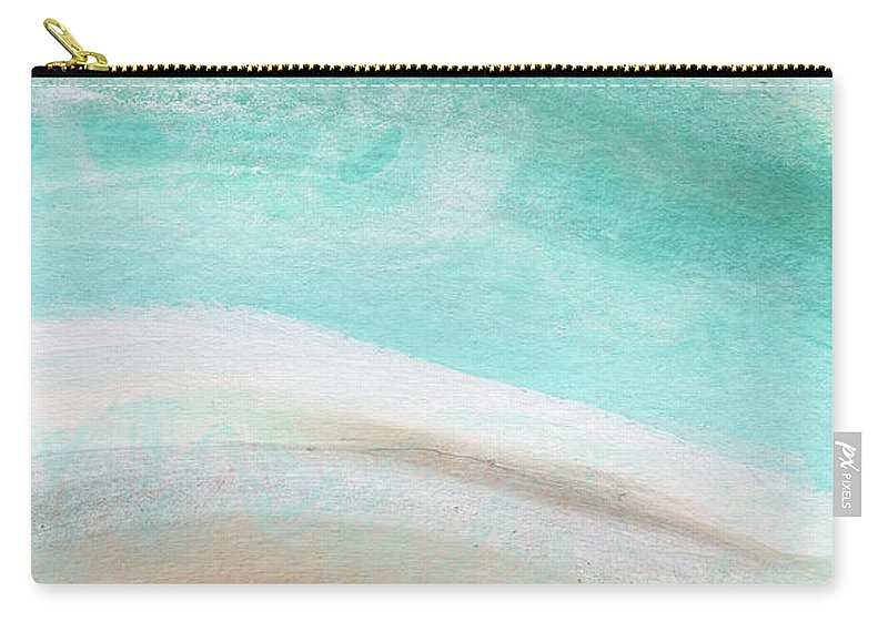 Beach Carry-all Pouch featuring the painting Sand and Saltwater- Abstract Art by Linda Woods by Linda Woods