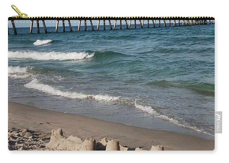 Sea Scape Carry-all Pouch featuring the photograph Sand Castles And Piers by Rob Hans
