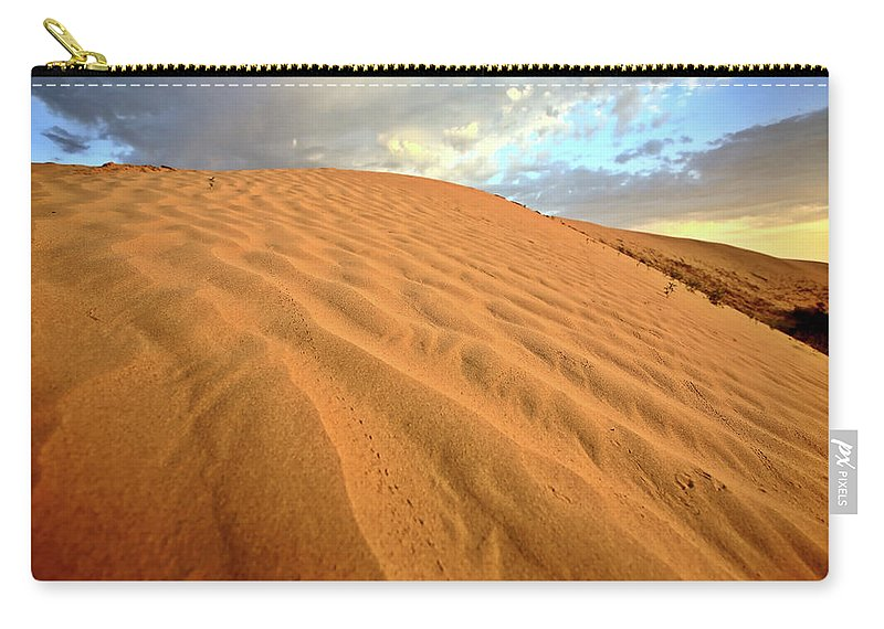 Sand Dune Carry-all Pouch featuring the digital art Sand Dune At Great Sand Hills In Scenic Saskatchewan by Mark Duffy