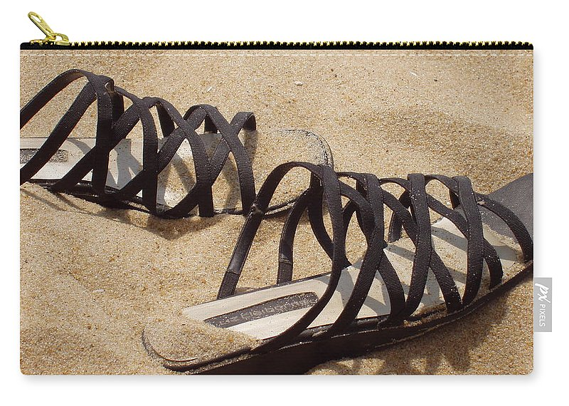 Shoes Carry-all Pouch featuring the photograph Sand Shoes I by Deborah Crew-Johnson