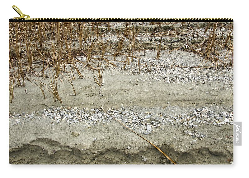 Abstracts Carry-all Pouch featuring the photograph Sand Stone And Reeds by Karen W Meyer