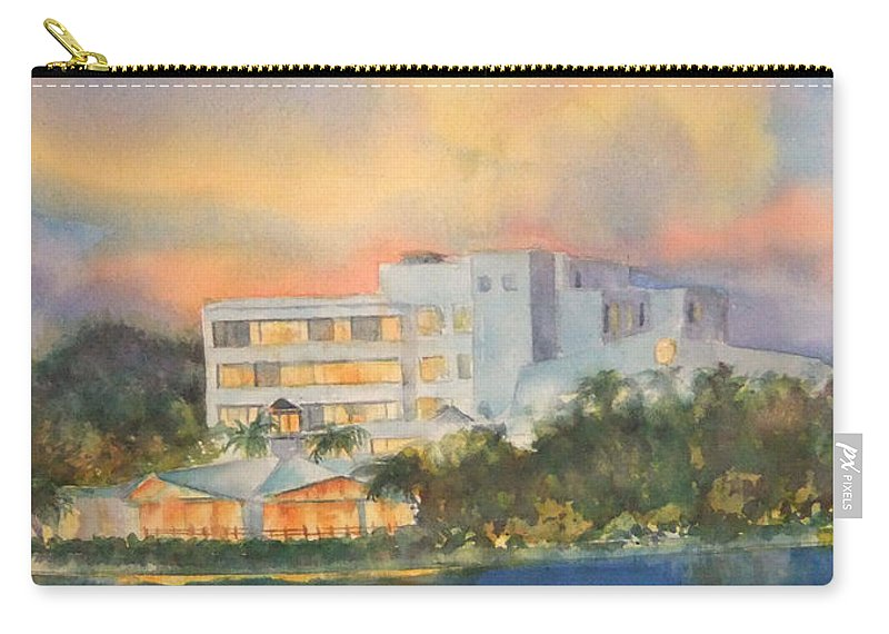 Sandcastle Hotel In Clearwater Florida Carry-all Pouch featuring the painting Sandcastle Retreat by Debbie Lewis