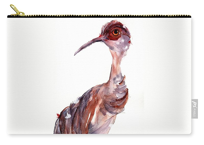 Sandhill Crane Carry-all Pouch featuring the painting Sandhill Crane by Dawn Derman