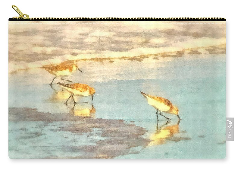 Seascape Carry-all Pouch featuring the photograph Sandpipers Along The Shoreline by Betsy Foster Breen