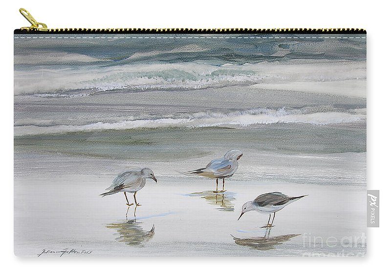 Art Carry-all Pouch featuring the painting Sandpipers by Julianne Felton