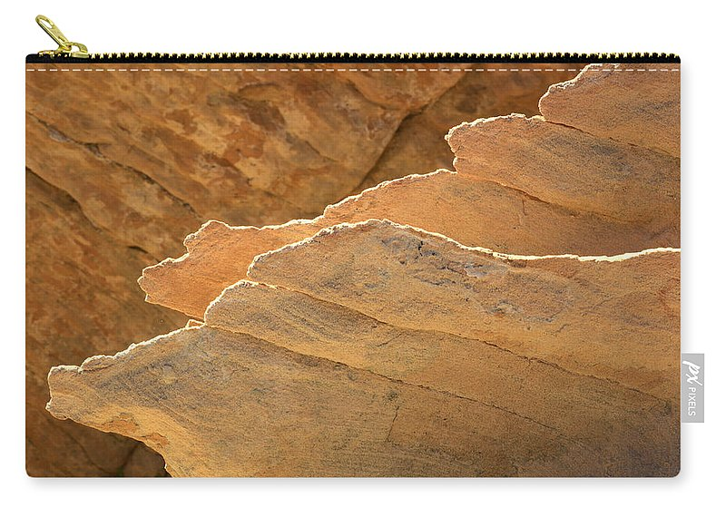 Nevada Carry-all Pouch featuring the photograph Sandstone Fins by Bob Christopher
