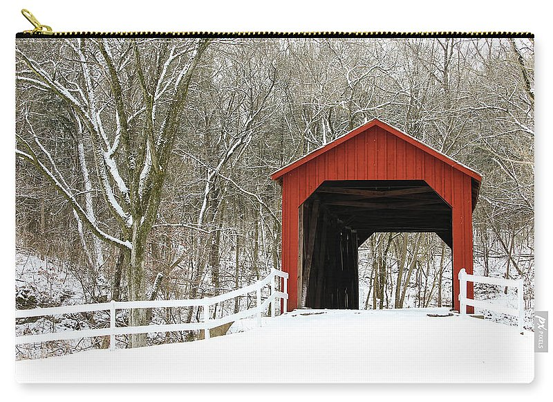 Landscape Carry-all Pouch featuring the photograph Sandy Creek Covered Bridge by Holly Ross