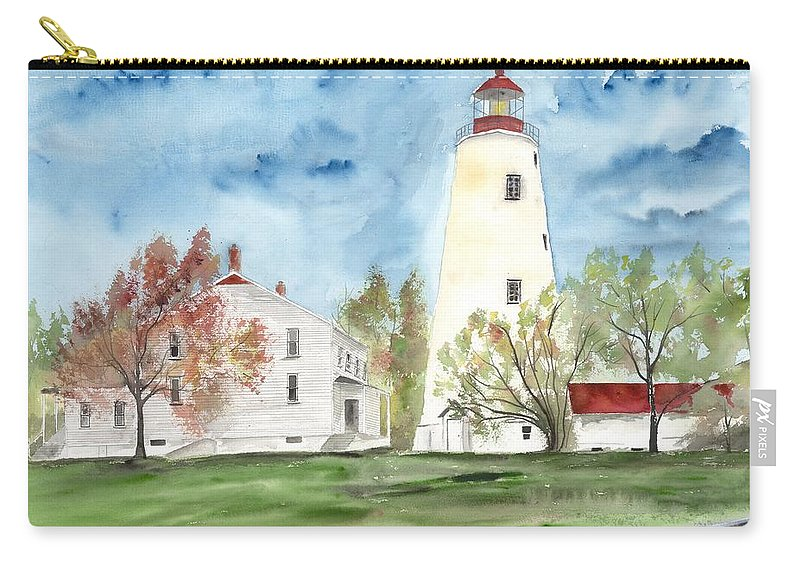 Watercolor Carry-all Pouch featuring the painting Sandy Hook Lighthouse by Derek Mccrea