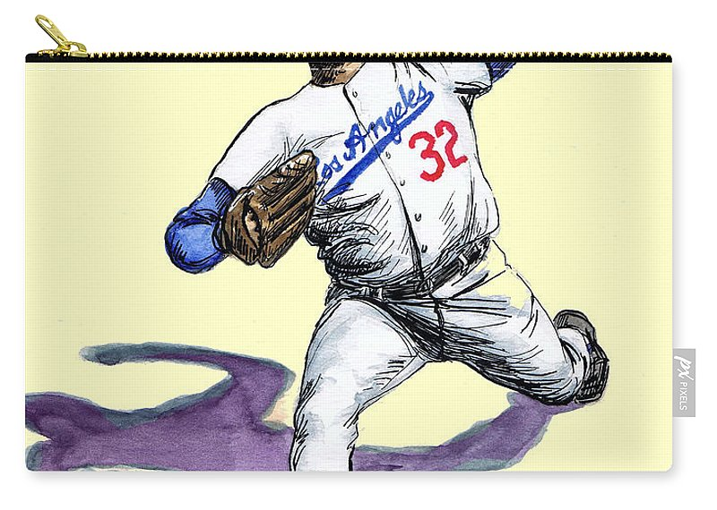 Vintage Carry-all Pouch featuring the drawing Sandy Koufax by Mel Thompson