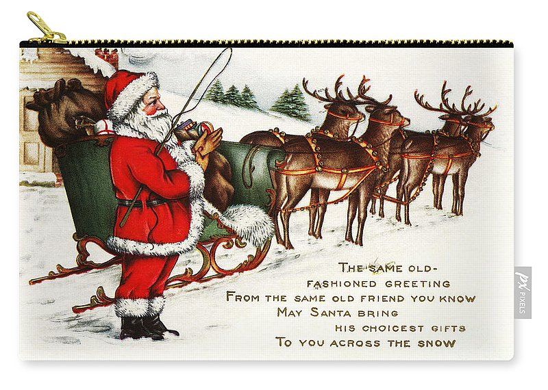 Santa And His Reindeer Greetings Merry Christmas Carry-all Pouch featuring the painting Santa And His Reindeer Greetings Merry Christmas by R Muirhead Art
