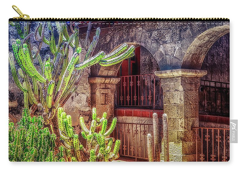 Santa Barbara Carry-all Pouch featuring the photograph Santa Barbara Mission by Cate O'Donnell