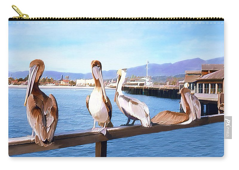 Harbor Carry-all Pouch featuring the photograph Santa Barbara Pelicans by Kurt Van Wagner