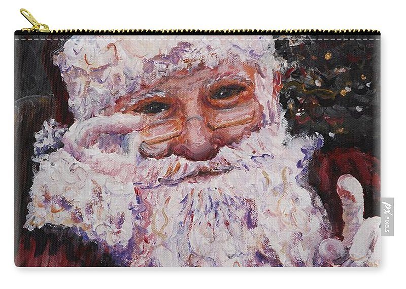 Santa Carry-all Pouch featuring the painting Santa Chat by Nadine Rippelmeyer