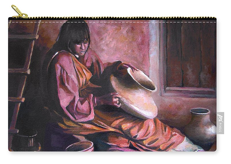 Native American Carry-all Pouch featuring the painting Santa Clara Potter by Nancy Griswold