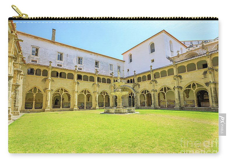 Coimbra Carry-all Pouch featuring the photograph Santa Cruz Monastery Cloister by Benny Marty