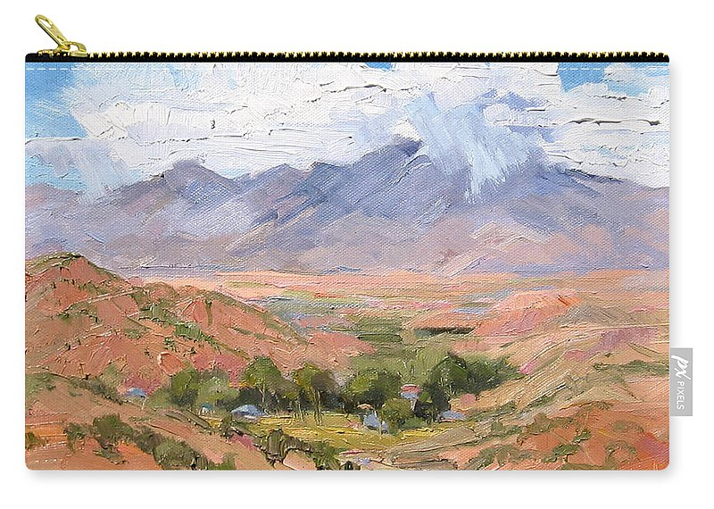 Southwest Scenes Carry-all Pouch featuring the painting Santa Fe Summer by Cindy Carrillo