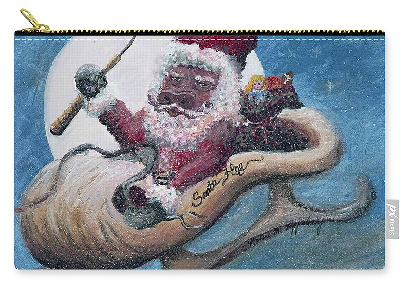 Christmas Carry-all Pouch featuring the painting Santa Hog by Nadine Rippelmeyer