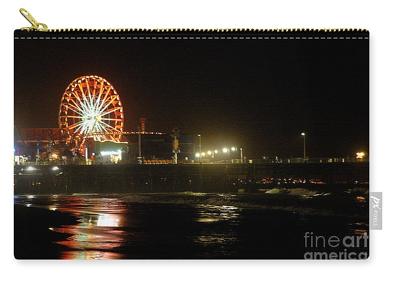 Clay Carry-all Pouch featuring the photograph Santa Monica Pier by Clayton Bruster