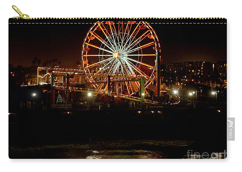 Clay Carry-all Pouch featuring the photograph Santa Monica Pier October 18 2007 by Clayton Bruster