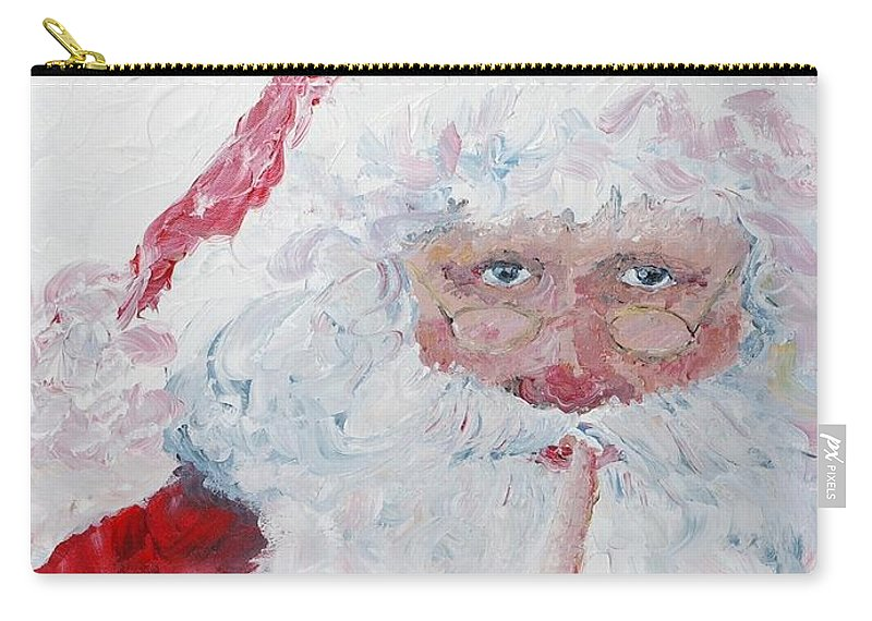 Santa Carry-all Pouch featuring the painting Santa Shhhh by Nadine Rippelmeyer