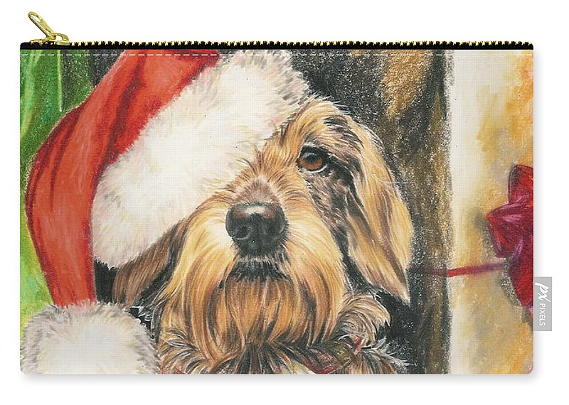Hound Group Carry-all Pouch featuring the drawing Santas Little Yelper by Barbara Keith
