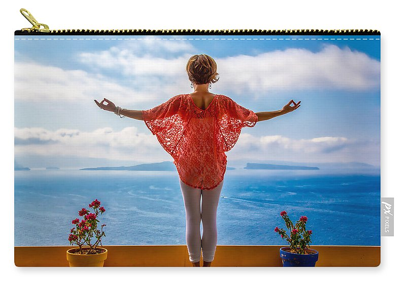 Santorini Carry-all Pouch featuring the photograph Santorini Yoga Goddess by Stuart Smith