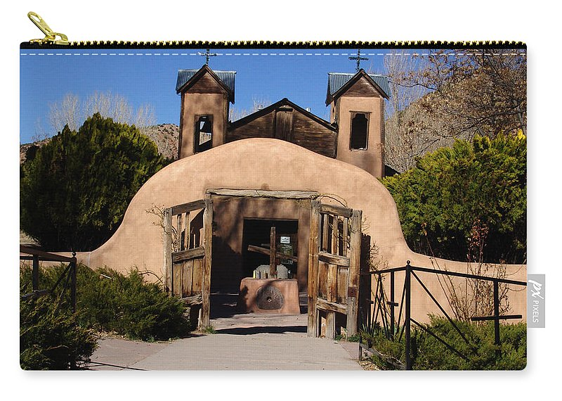 Church Carry-all Pouch featuring the photograph Santuario De Chimayo Adobe Chapel by Carol Milisen