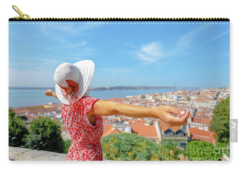 Lisbon Carry-all Pouch featuring the photograph Sao Jorge Castle Overlook by Benny Marty