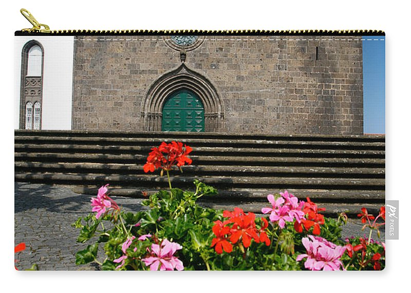Azoren Carry-all Pouch featuring the photograph Sao Miguel Arcanjo Church by Gaspar Avila