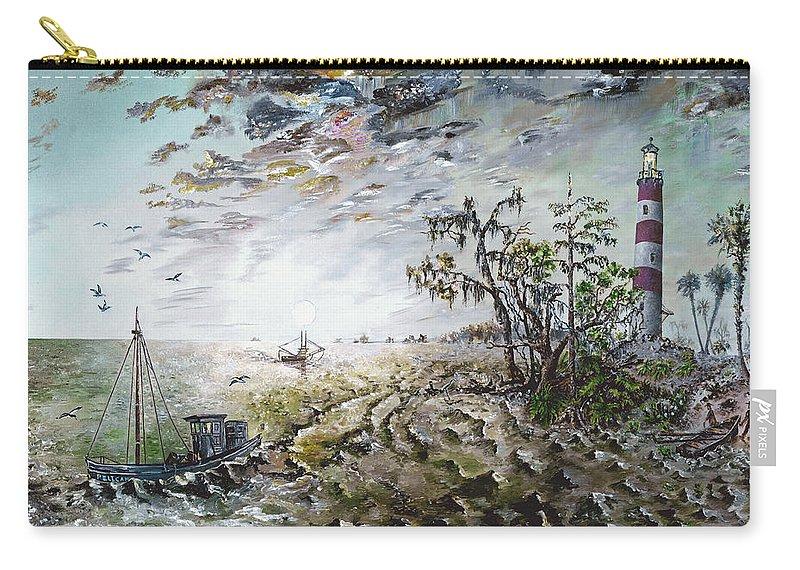Lighthouse Carry-all Pouch featuring the painting Sapelo Island by Richard Barham