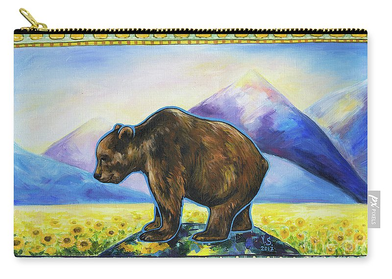 Bear Carry-all Pouch featuring the painting Sapient by Yana Sadykova