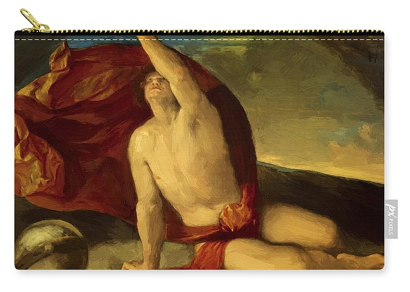 Sapiente Carry-all Pouch featuring the painting Sapiente Con Compasso E Globo by Dossi Dosso