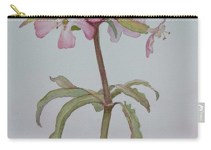 Flower Carry-all Pouch featuring the painting Saponaria by Ruth Kamenev
