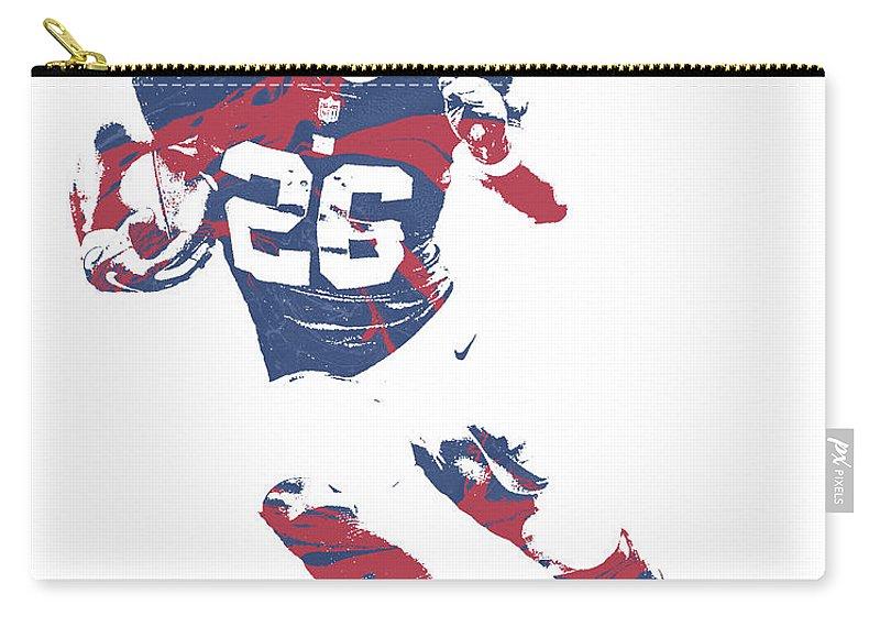Saquon Barkley Carry-all Pouch featuring the mixed media Saquon Barkley New York Giants Pixel Art 2 by Joe Hamilton