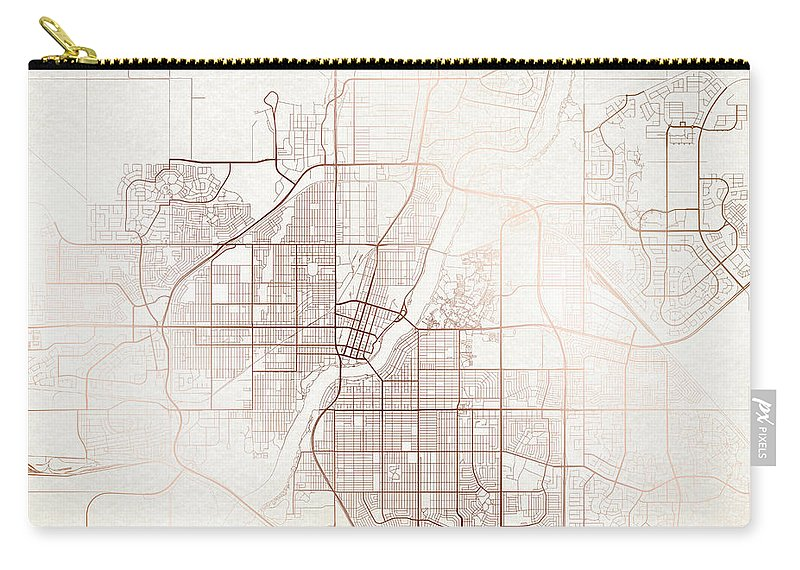 Map Carry-all Pouch featuring the digital art Saskatoon Street Map Colorful Copper Modern Minimalist by Jurq Studio