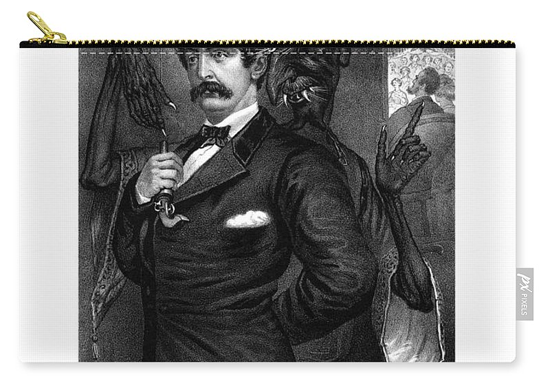 John Wilkes Booth Carry-all Pouch featuring the drawing Satan Tempting John Wilkes Booth by War Is Hell Store