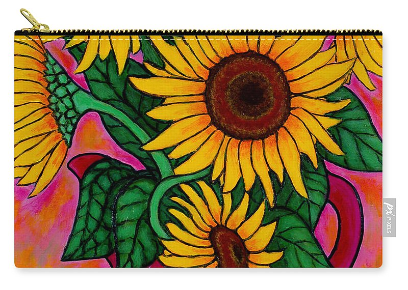 Sunflowers Carry-all Pouch featuring the painting Saturday Morning Sunflowers by Lisa Lorenz