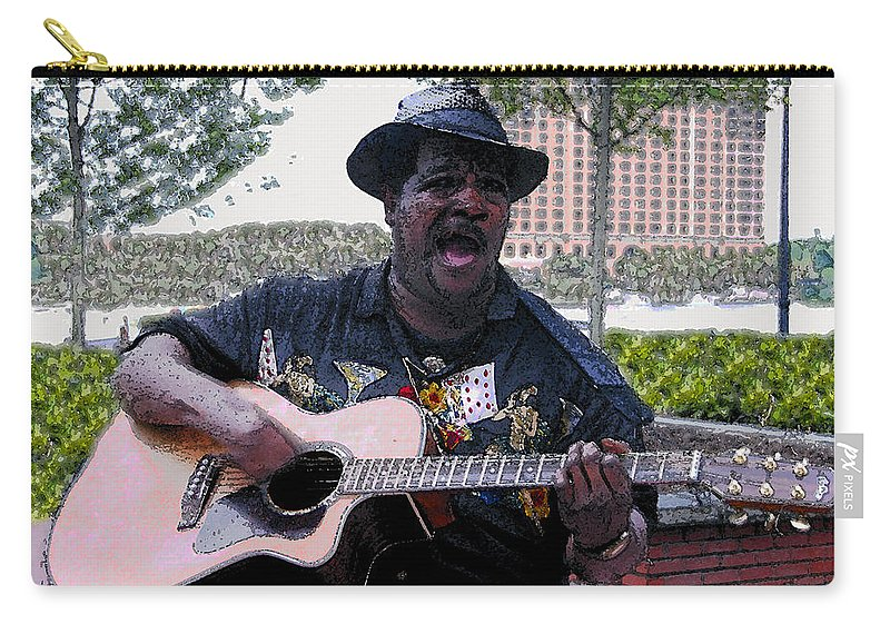 Blues Carry-all Pouch featuring the painting Savanna Blues Man by David Lee Thompson