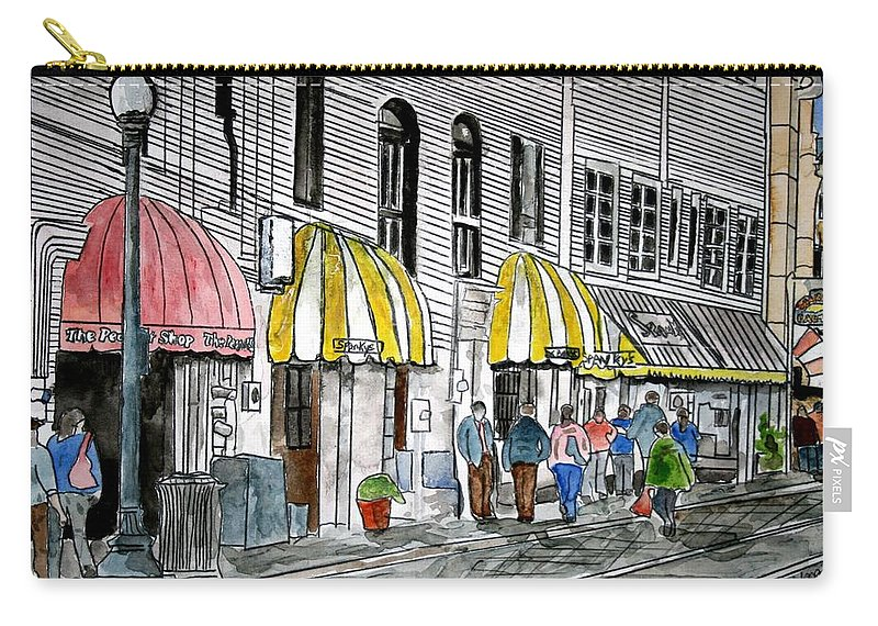 Cityscape Carry-all Pouch featuring the painting Savannah Georgia River Street 2 Painting Art by Derek Mccrea